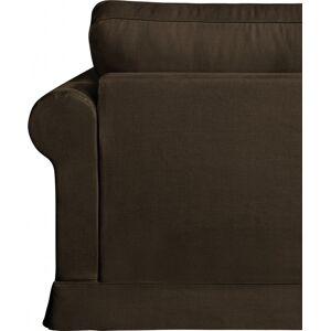 Canapé d'angle modulable tissu coton brun accoudoirs ronds - Publicité