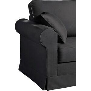 Canapé d'angle modulable tissu coton gris anthracite accoudoirs ronds - Publicité