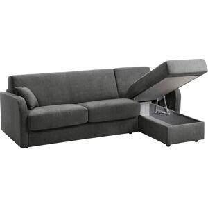 Canapé d'angle rapido convertible LEON microfibre gris foncé - Publicité