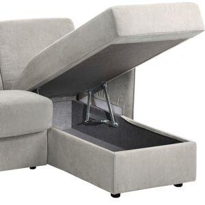 Canapé d'angle rapido convertible LUXOR microfibre gris clair - Publicité
