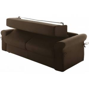 Canapé rapido 3 places convertible OCEANIA tissu chocolat - Publicité