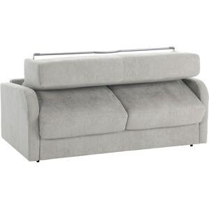 Canapé rapido 4 places convertible LEON microfibre gris clair - Publicité