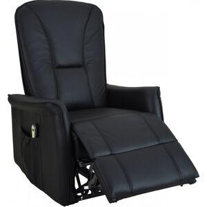 Fauteuil relaxation électrique cuir noir repose pieds intégré - Publicité