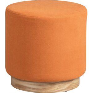 Pouf rond tissu orange socle frêne naturel - Publicité