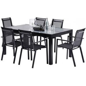 Salon de jardin HPL Star L170 6 fauteuils noir - Publicité
