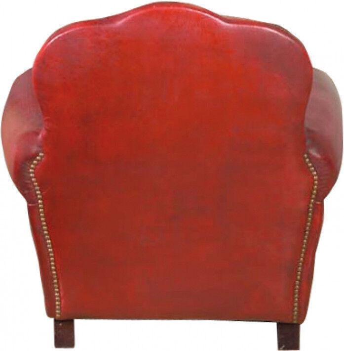 Fauteuil club Moustache Tamaris cuir basane clouté rouge