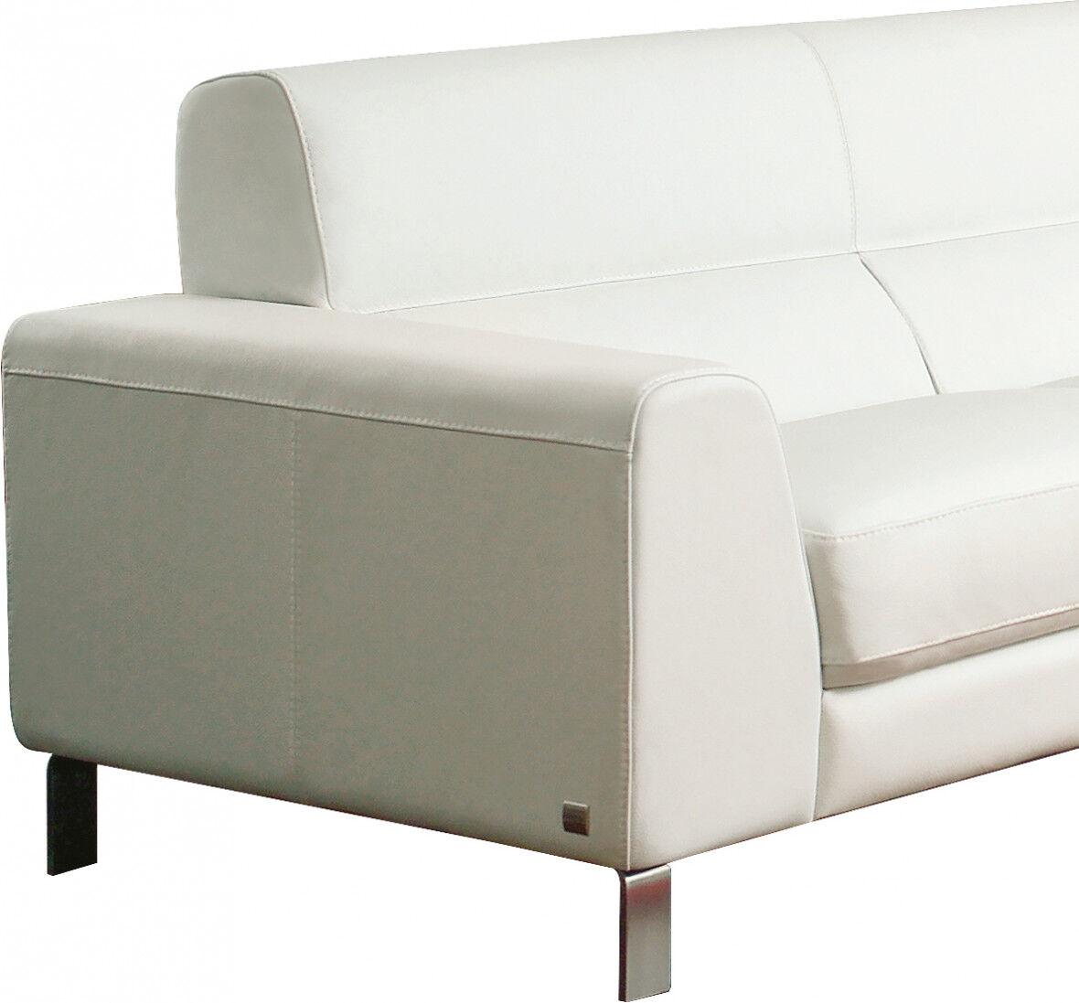 Salon d'angle modulable cuir blanc glacé Carrare