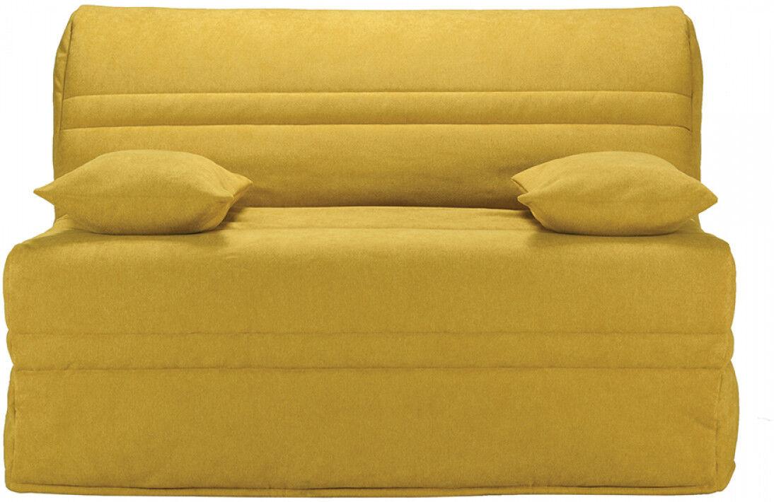 Banquette BZ tissu jaune moutarde matelas 140x200 Bultex mousse HR