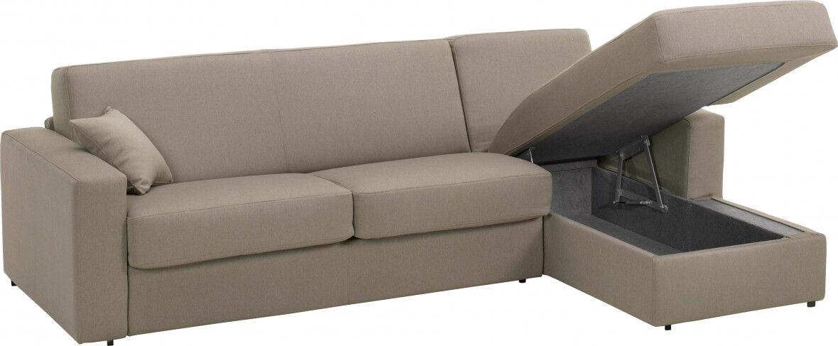 Canapé d'angle rapido convertible SAVOY tissu châtaigne