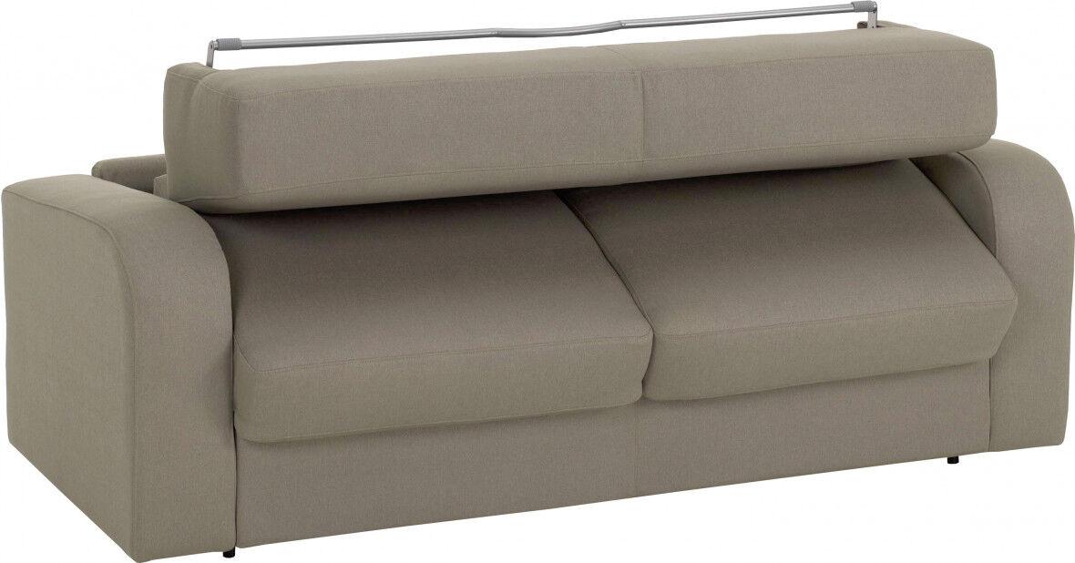 Canapé rapido 4 places convertible CHRIS tissu châtaigne