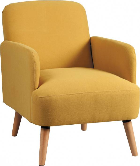 Fauteuil scandinave tissu polyester jaune et manguier