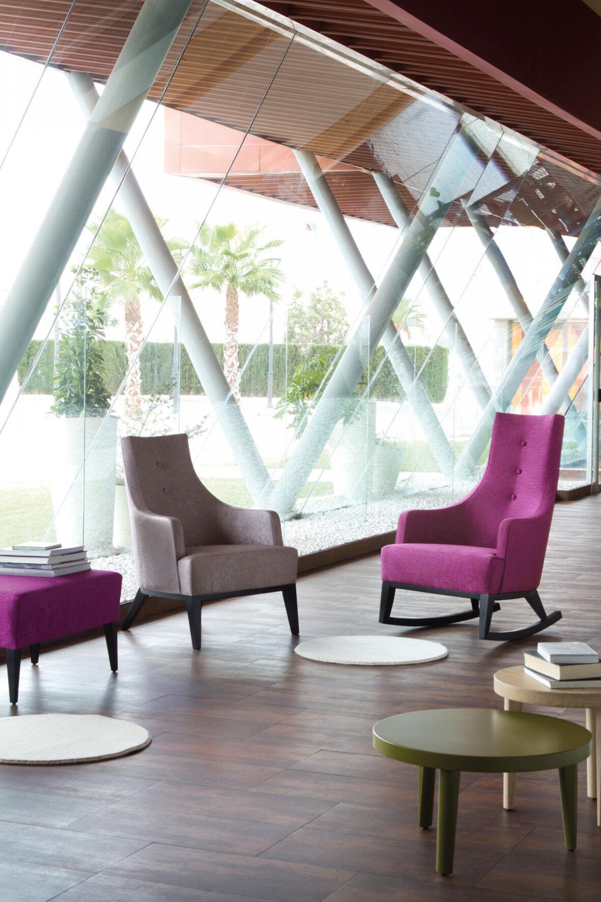 Rocking chair design hêtre massif laqué noir tissu fuchsia