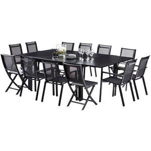 Salon de jardin Black Star 12 L150 Full verre 8 Fauteuil 4 chaises noir - Publicité