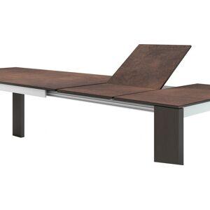 Table de repas chêne wengé plateau céramique teracotta L180 2 allonges - Publicité