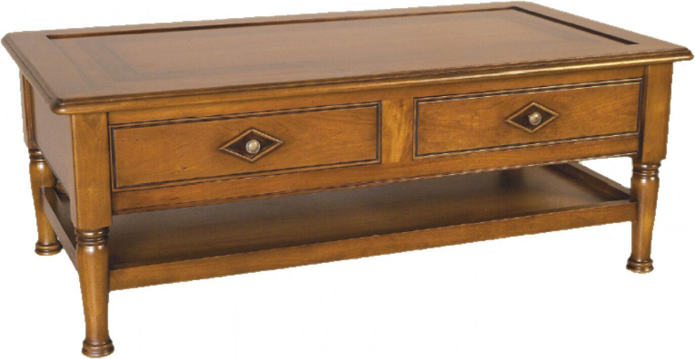 Table Basse 2 tiroirs double plateau