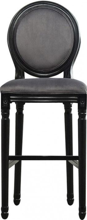 Tabouret de bar médaillon lin gris pieds bois noir