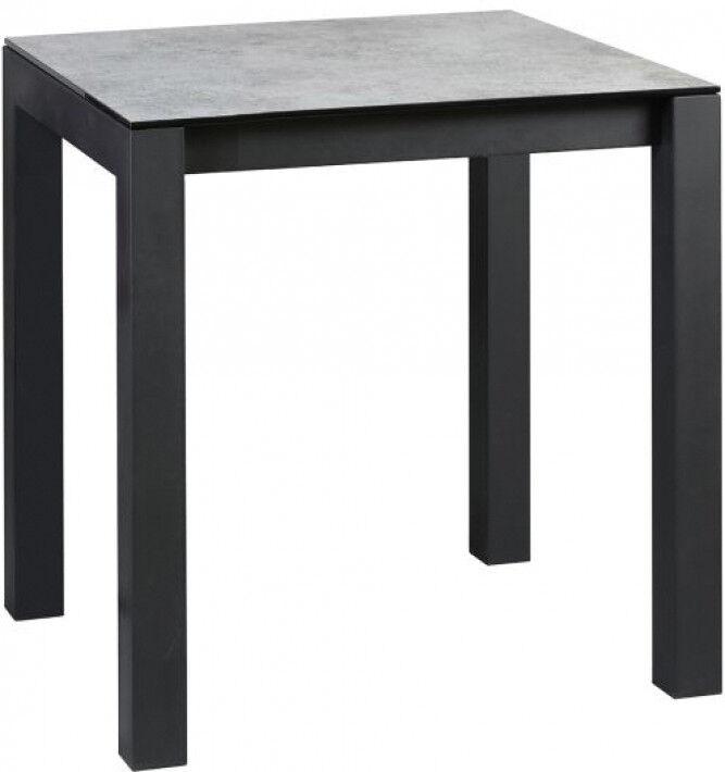 Table snack carrée plateau verre feuilleté aspect céramique