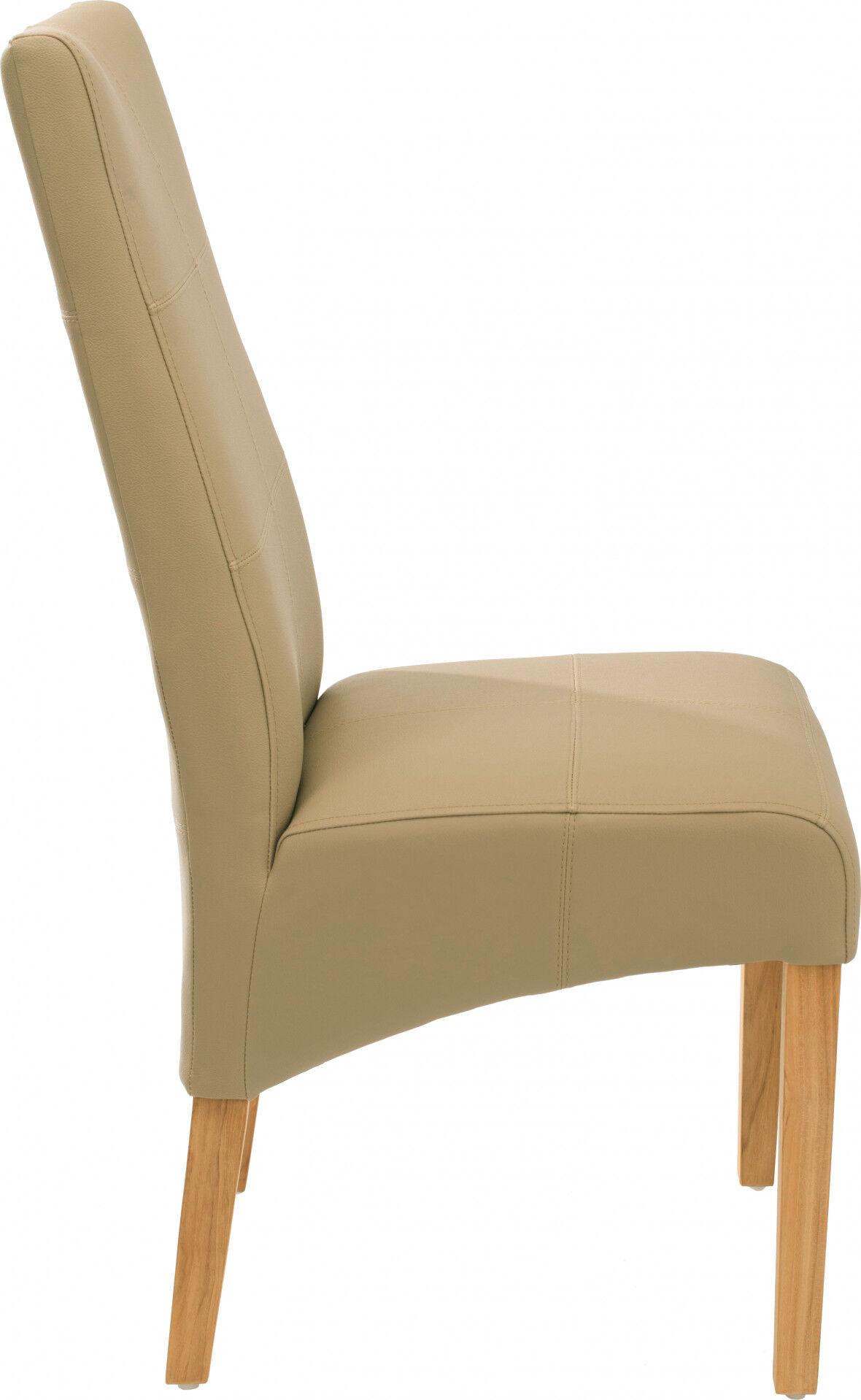Chaise ELOISE beige assise et dossier avec coutures décoratives