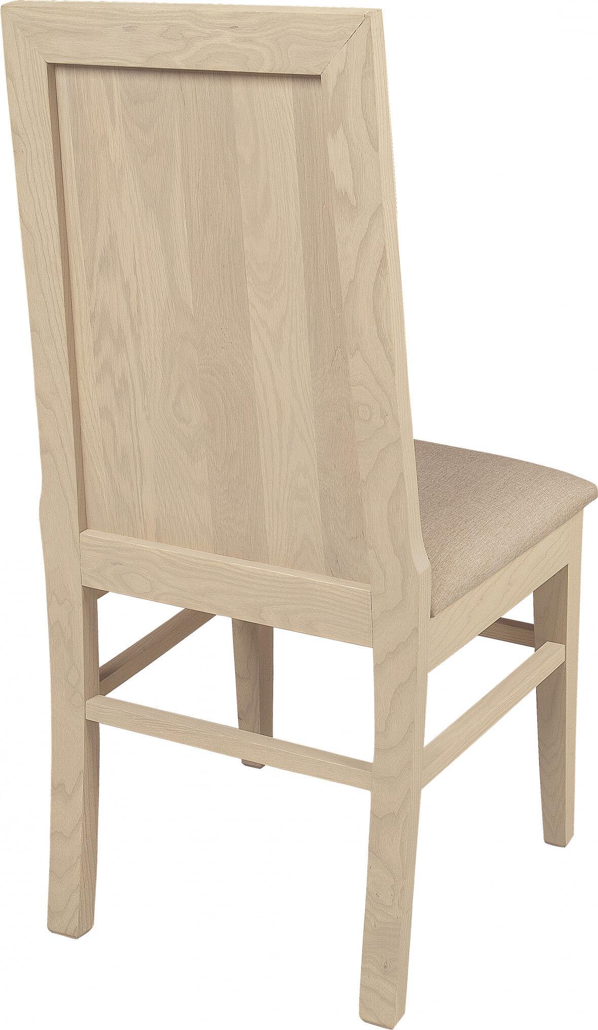 Chaise chêne massif blanc pierre assise et dossier tapissés