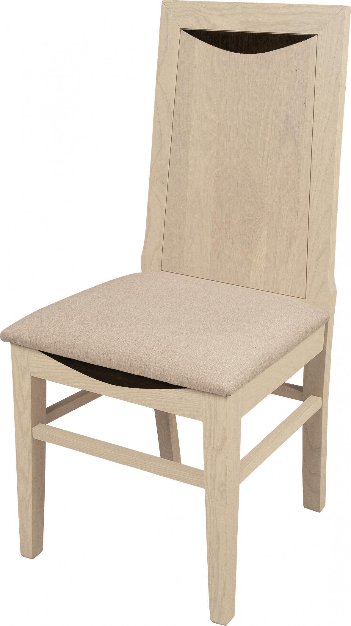 Chaise chêne massif blanc pierre assise tapissés dossier bois