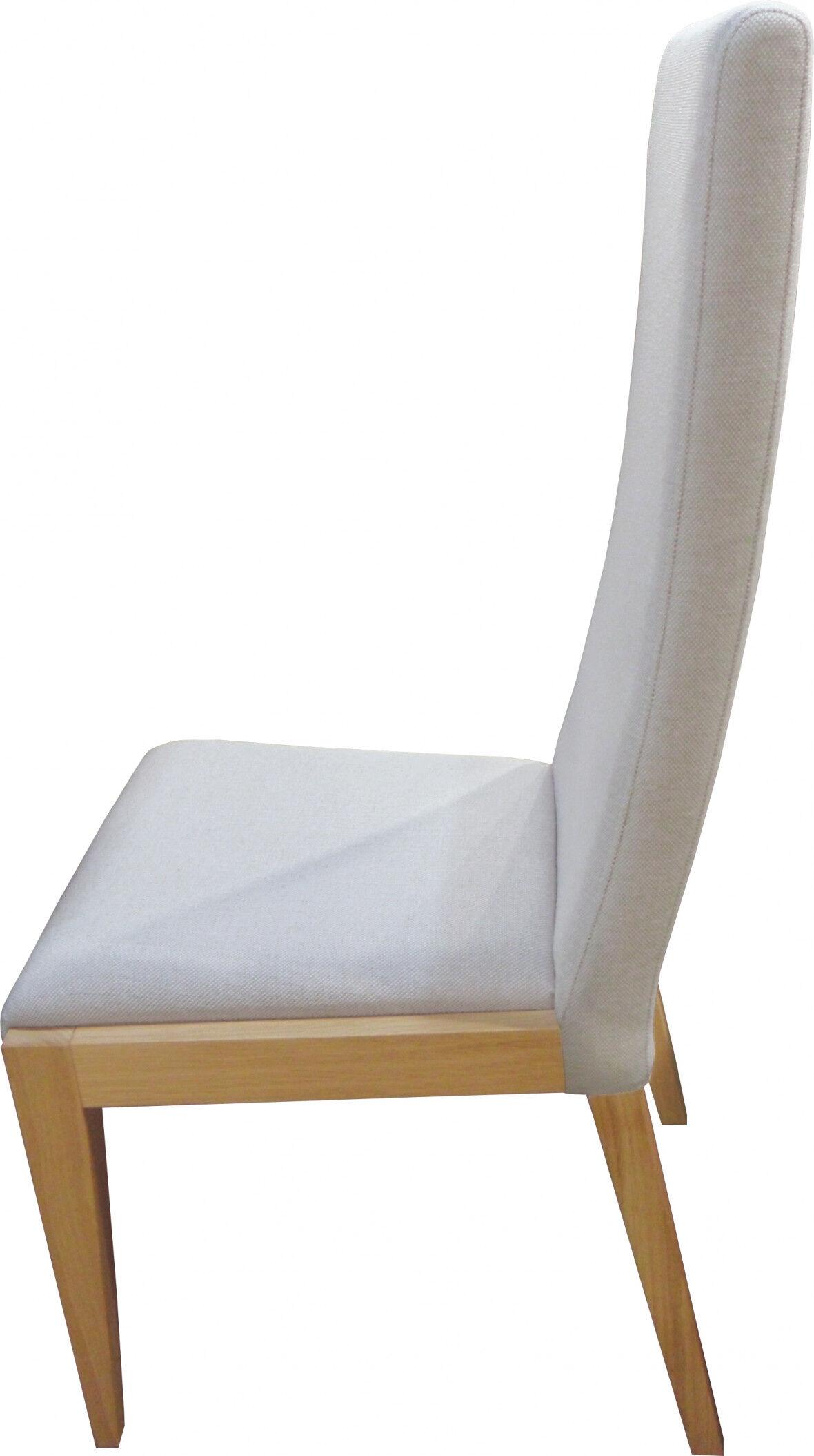 Chaise chêne massif clair tissu beige