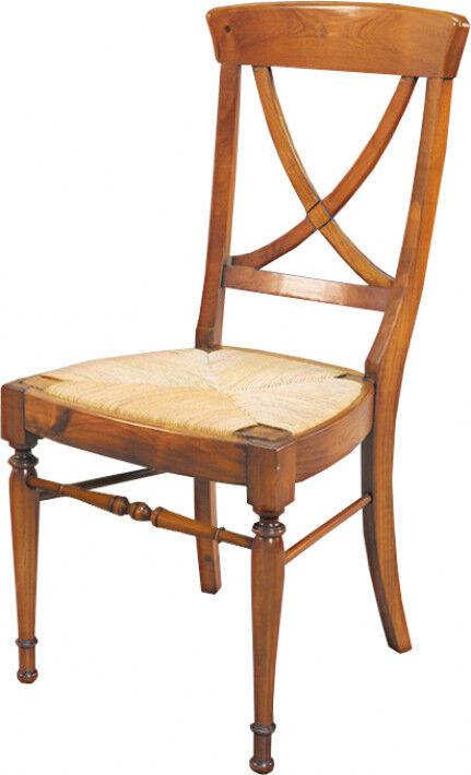 Chaise croisillon merisier massif assise paille