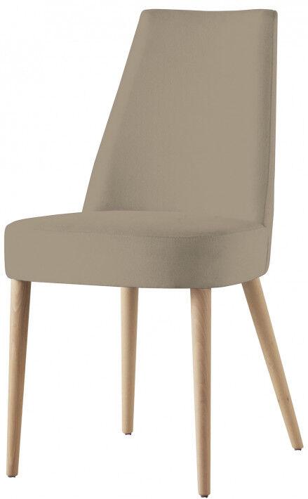 Chaise design hêtre massif tissu beige