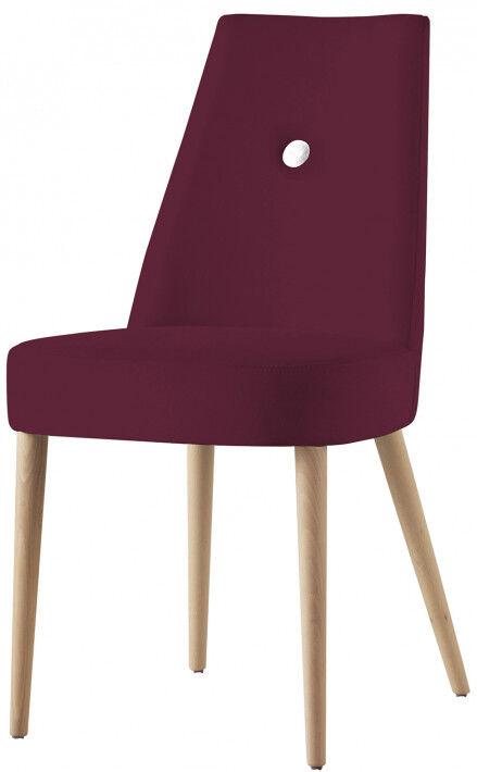 Chaise design hêtre massif tissu prune