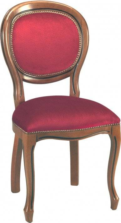 Chaise médaillon velours bordeaux