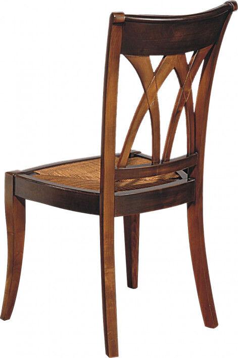 Chaise merisier assise paille dossier croisillons