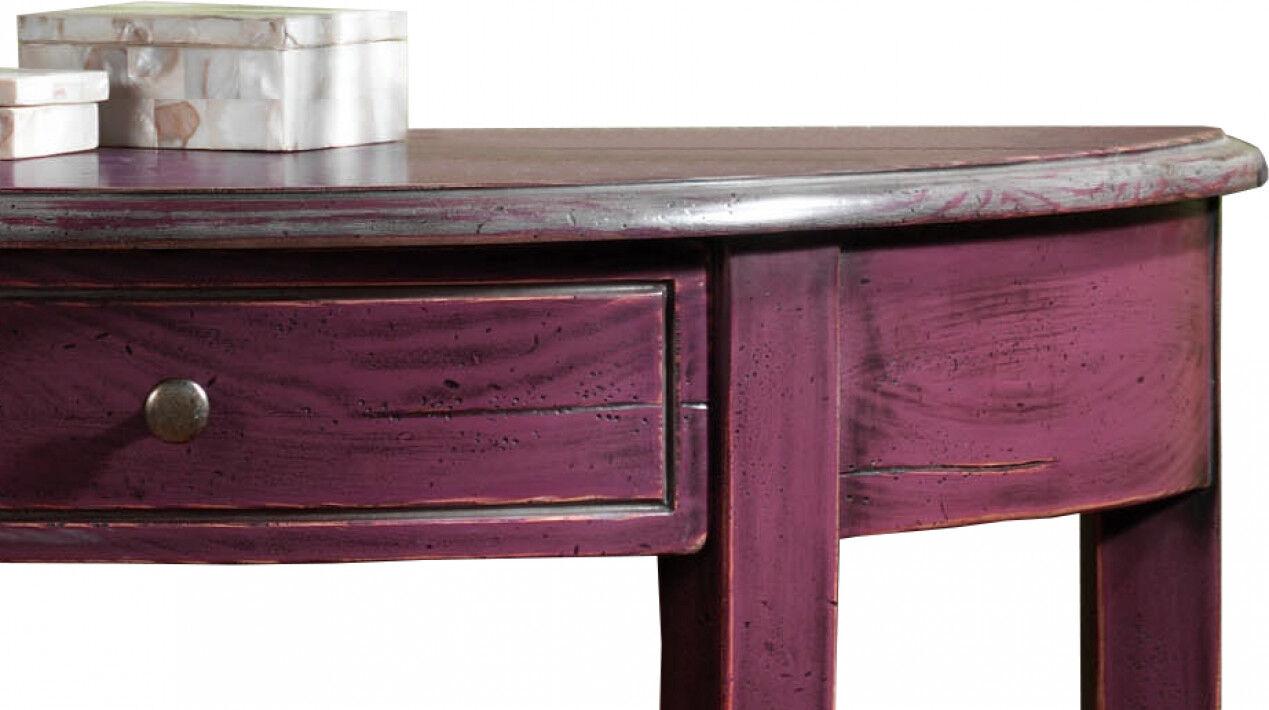 Console demi lune chêne prune et gris 1 tiroir pieds galbés