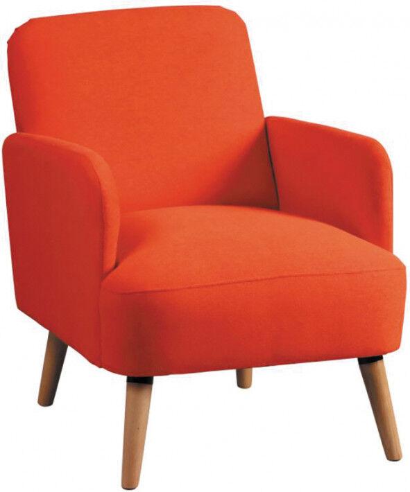 Fauteuil scandinave tissu polyester orange et manguier
