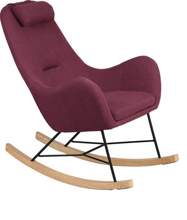 Rocking-chair design acier tapissé tissu prune