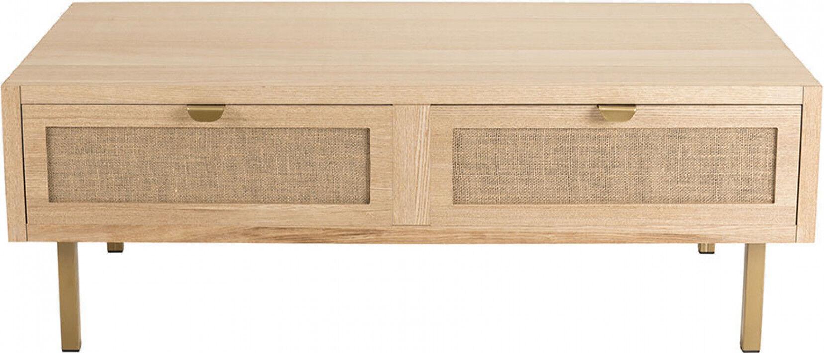 Table basse 2 tiroirs toile de jute - ALY