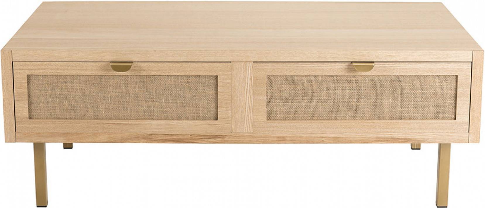 Table basse 2 tiroirs toile de jute - ALY