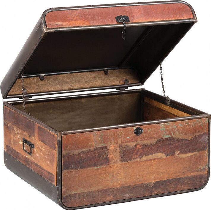 Table basse coffre industriel métal et bois aspect vieilli