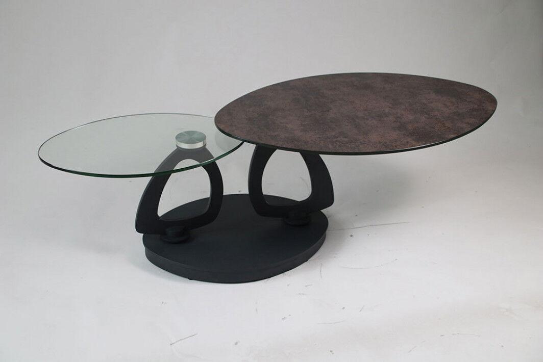 Table basse design double plateau en verre anthracite et transparent