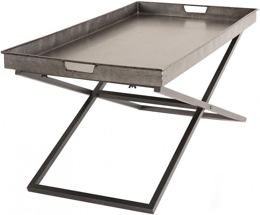 Table basse industriel plateau zinc pieds croisé métal – HELINO