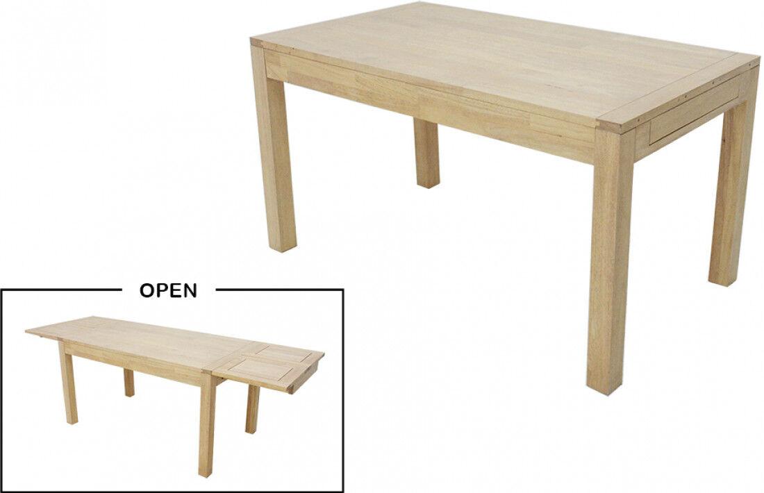 Table de repas rectangulaire L140 extensible hévéa massif huilé naturel 2 allonges papillons