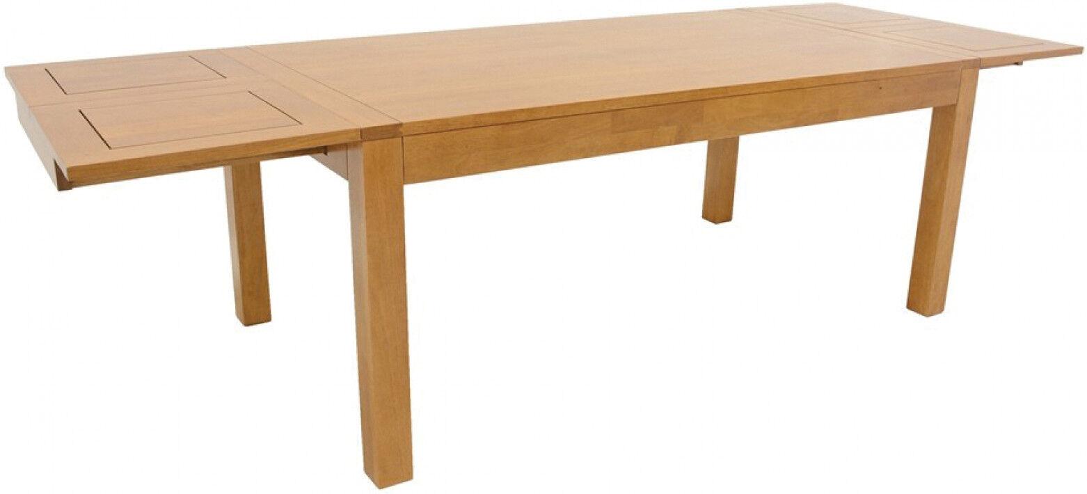 Table de repas rectangulaire extensible L180 hévéa massif huilé naturel 2 allonges papillons