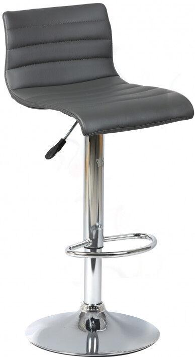 Tabouret de bar design PVC gris assise rotative réglable