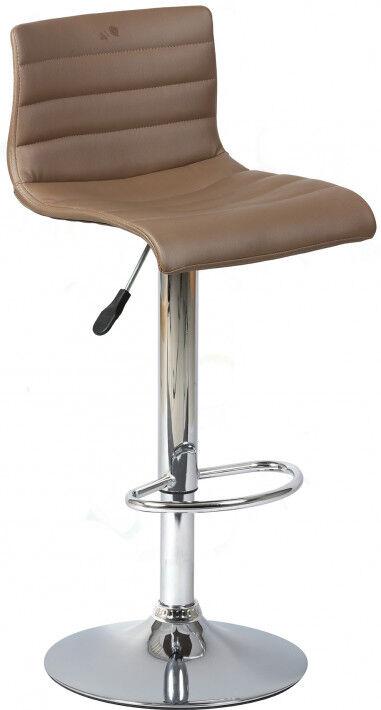 Tabouret de bar design PVC taupe assise rotative réglable