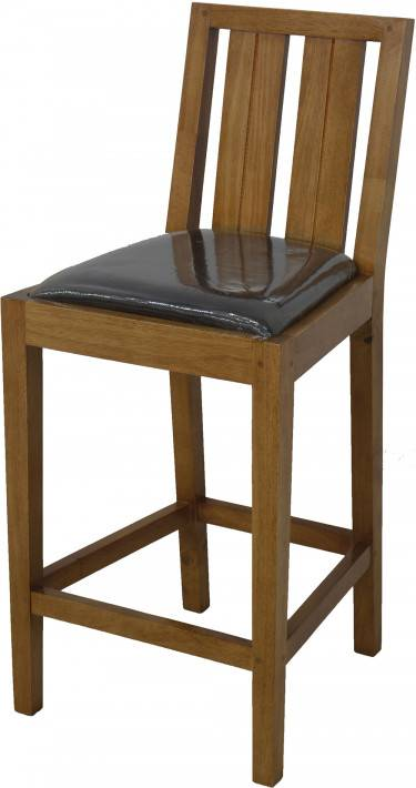 Tabouret de bar hévéa massif teinté chêne assise cuir bycast noir