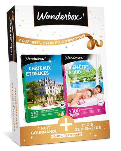 Wonderbox Coffret cadeau - Châteaux et délices + Bien-être en duo - Sport & Aventure