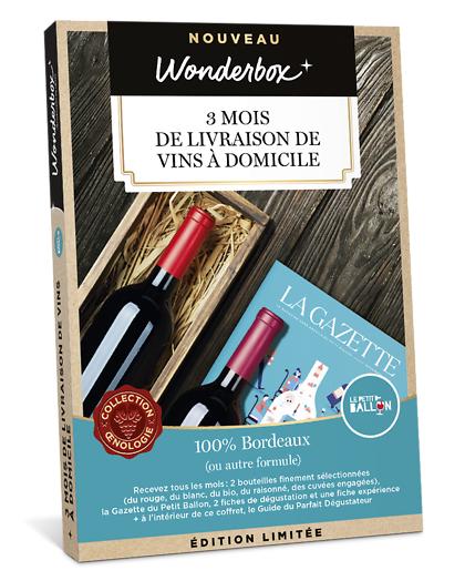 Wonderbox Coffret cadeau - Le Petit Ballon - 3 mois de livraison de vins à domicile - Restaurant & Gastronomie