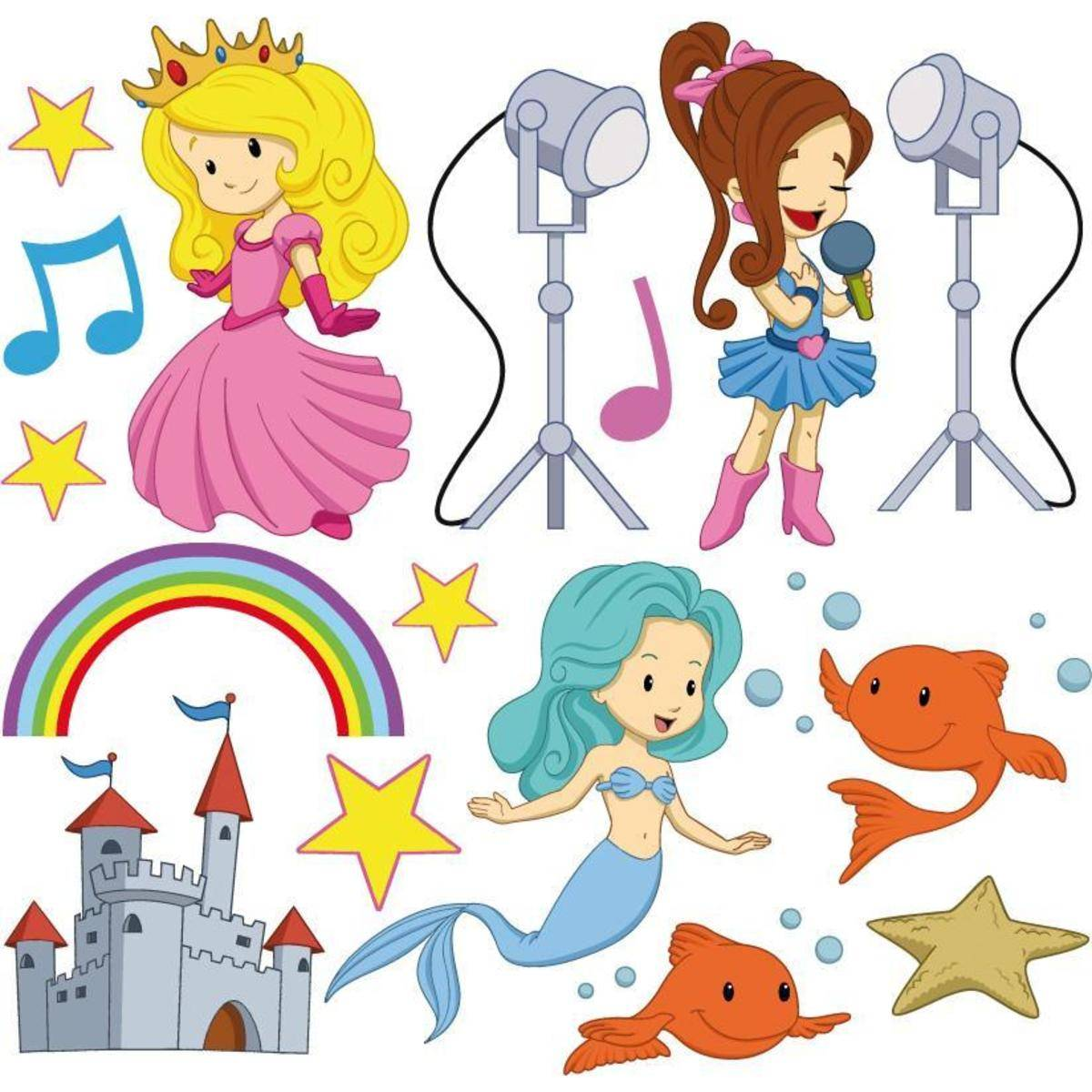 Miliboo Stickers princesse et sirène 30x30cm