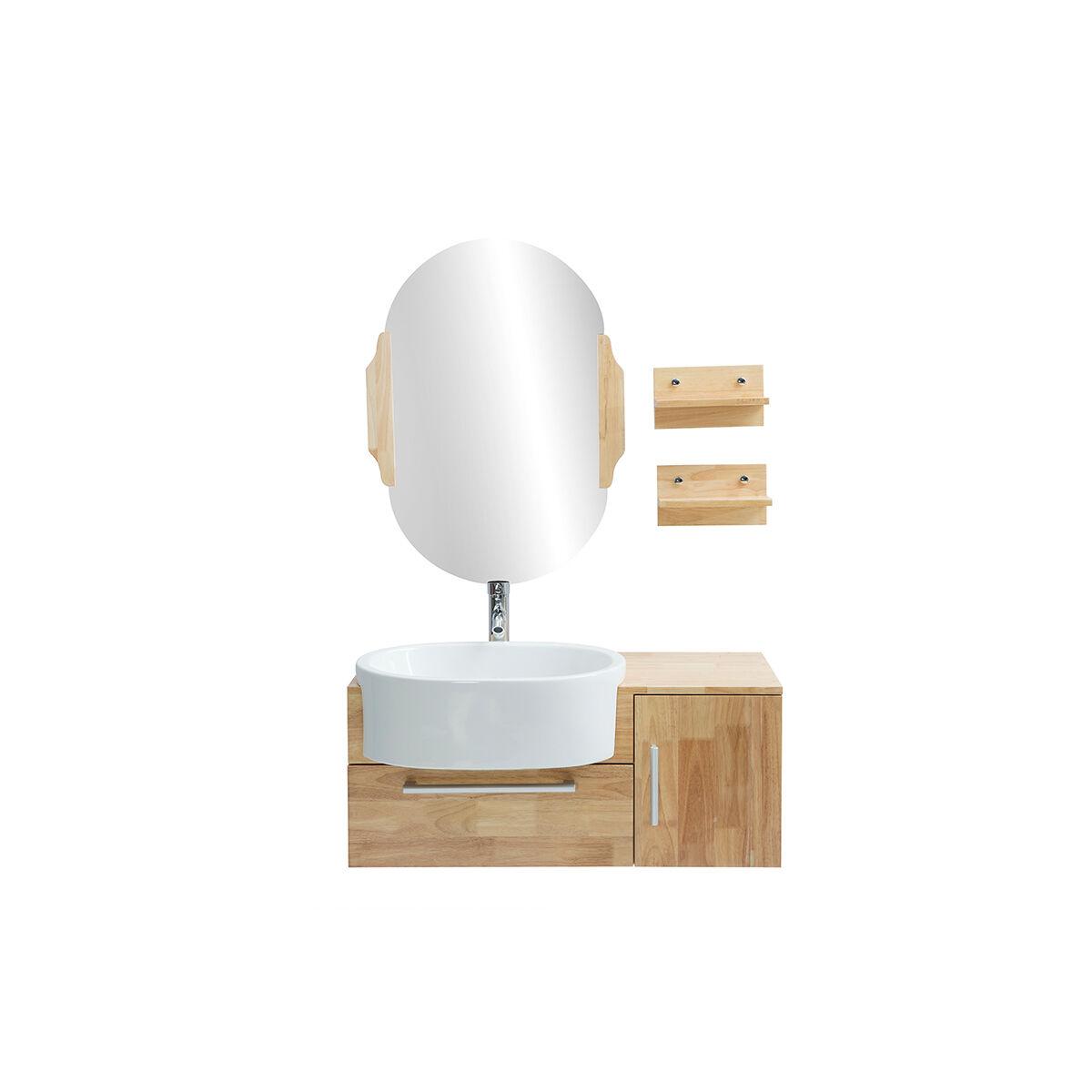 Miliboo Meuble de salle de bain : vasque, meuble sous-vasque, étagères et miroir NIVAN