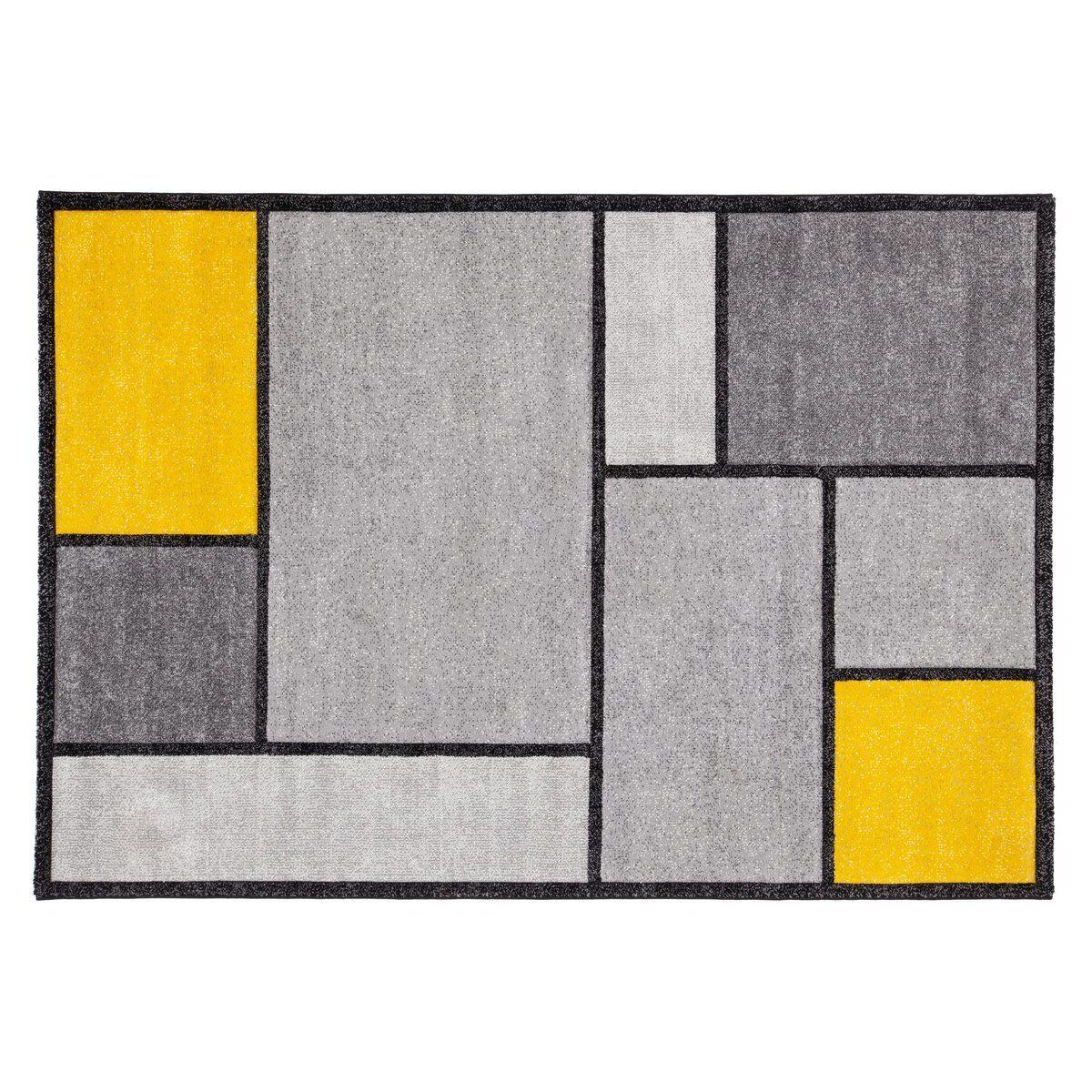 Miliboo Tapis design jaune et gris 160 x 230 cm - CUBIK