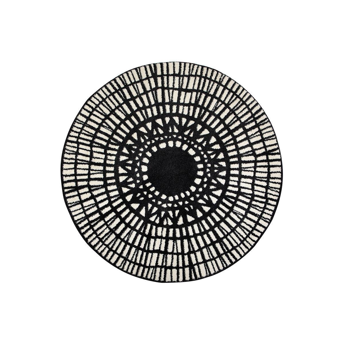 Miliboo Tapis rond graphique noir D160 cm OLAPA