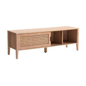 Miliboo Meuble TV avec portes coulissantes bois et rotin synthétique PACHO - Publicité